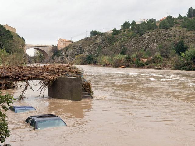 Autos sind unter Wasser. Ein Fluss trat über die Ufer.
