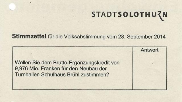 Brühl statt Hermesbühl: Die Stadt Solothurn Stimmzettel mit dem falschen Namen gedruckt.