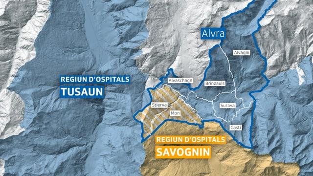 La vischnanca Alvra vul en l'avegnir appartegnair a la regiun d'ospitals Tusaun.