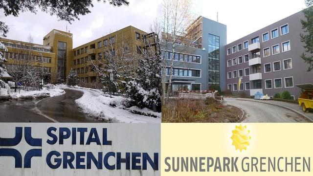 Zwei Fotos nebeneinander; links das Spital mit entsprechendem Schild von damals und rechts das Zentrum.