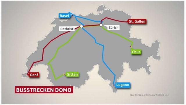 Plan mit dem Streckennetz der ersten drei Fernbuslinien in der Schweiz