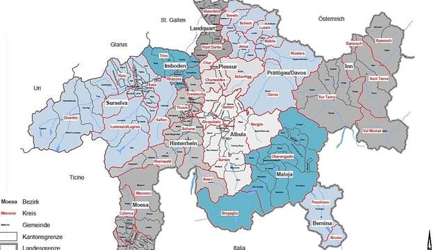 Karte von Graubünden mit Gemeindeeinteilung
