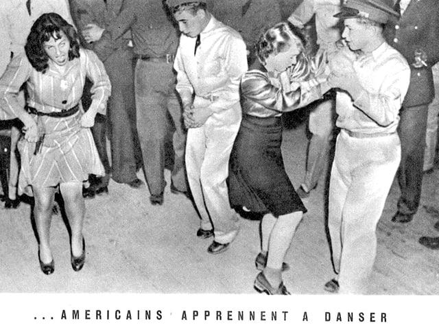 Eine Aufnahme aus dem Jahr 1941 zeigt Amerikaner beim Swing-Tanzen, eine Frau verzieht ihr Gesicht zur Grimasse.