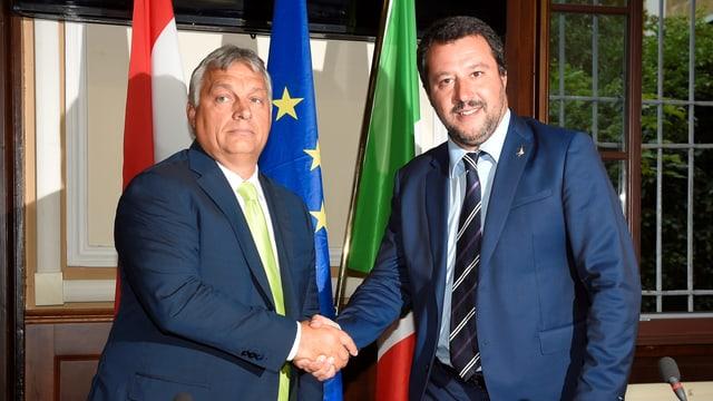 Orban und Salvini vor Kamera.