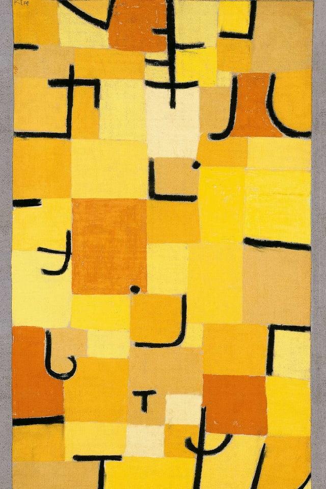 Ein abstraktes Bild von Paul Klee: gelbe Felder mit schwarzen Strichen und Punkten.