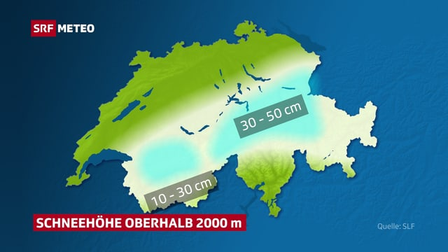 Eine Karte zeigt die Schneehöhen oberhalb von 2000 m.