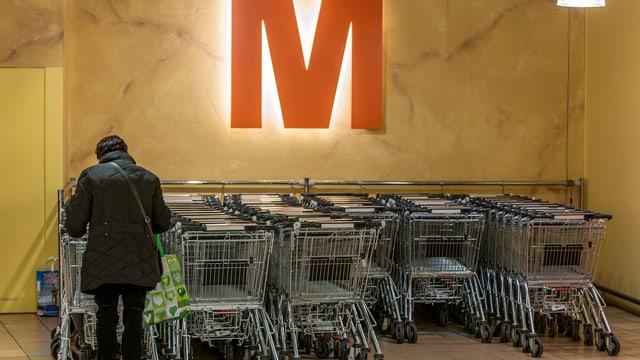 Einkaufswagen in einer Migrosfiliale