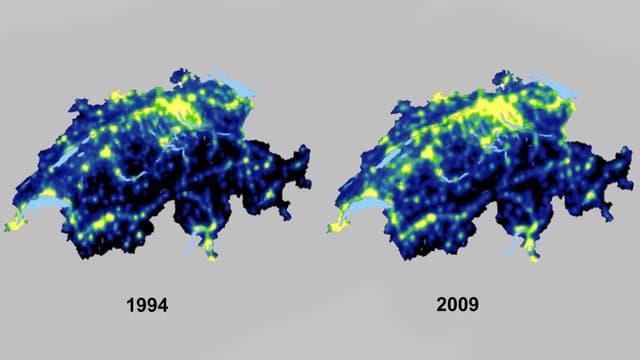 Lichtverschmutz im Vergleich: Grafik der Schweiz 1994 und 2009.