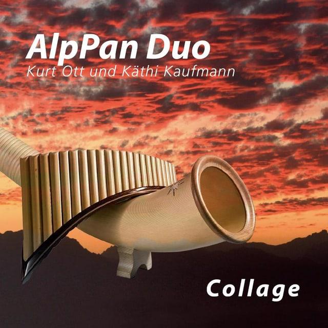 Eine Panflöte liegt quer über einem Alphorn auf dem Cover zum Album «Collage» vom AlpPan Duo.