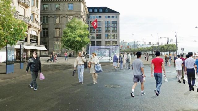 Visualisierung einer Metrostation beim Schwanenplatz Luzern.