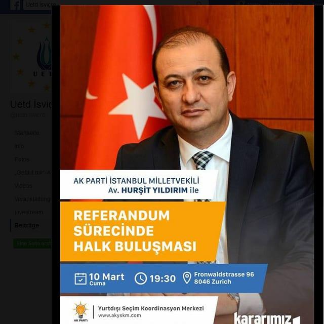 Der Flyer für die kommende türkische Wahlveranstaltung in der Schweiz findet sich auf Facebook.