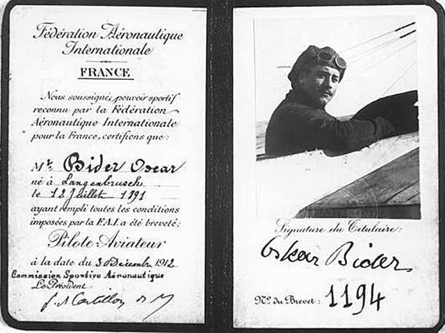 Flugschein von Oskar Bider