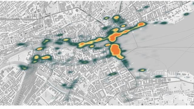 Karte mit bunten Flächen, die die Besucher-Dichte visualisieren sollen