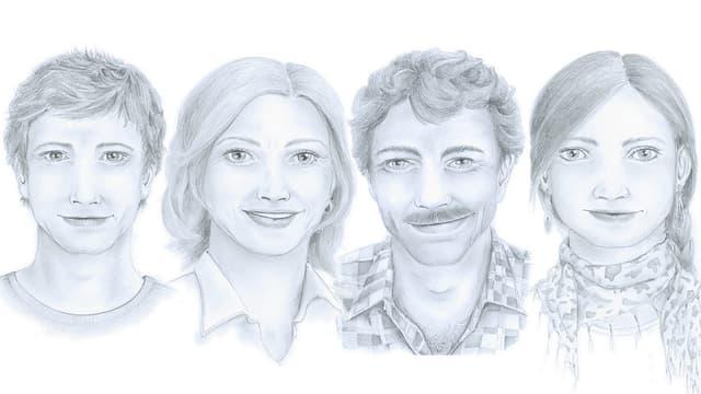 Dissegn da la famiglia Caflisch, d.s.a.d.: Severin, Ernesta, Martin e Pirmina.