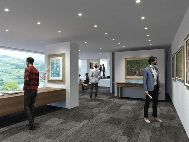 Visualisierung: Empfangsbereich eines Museums. Bilder an den Wänden.