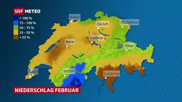 Niederschlag Februar in Prozent der monatlichen Norm