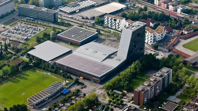 Luftaufnahme der Bossard Arena Zug