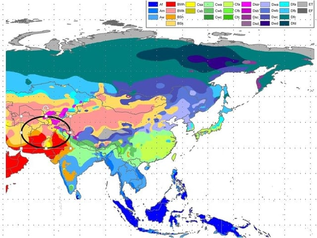 Karte mit Ausschnitt Asien. Die verschiedenen Klimazonen sind farbig dargestellt.