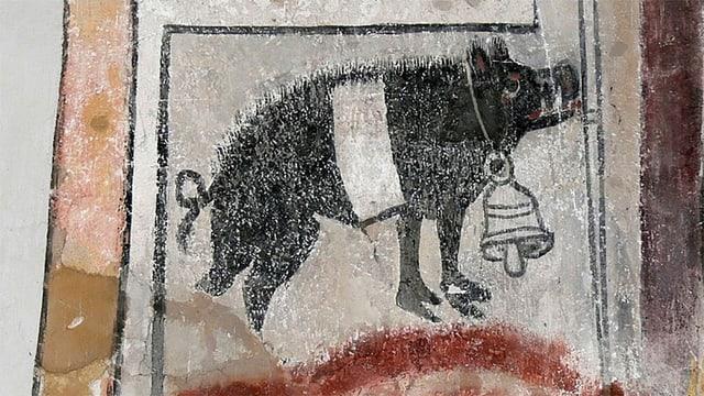 Wandmalerei: Schwein mit Glocke um den Hals