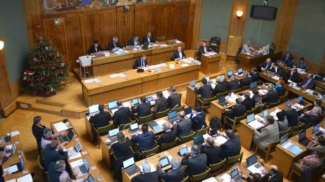Die Walliser Grossräte im Grossratssaal in Sitten.