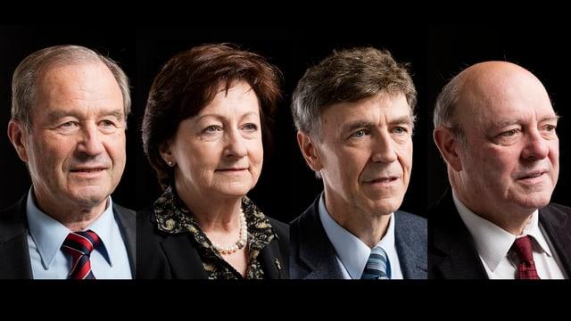 Eine Frau und drei Männer.
