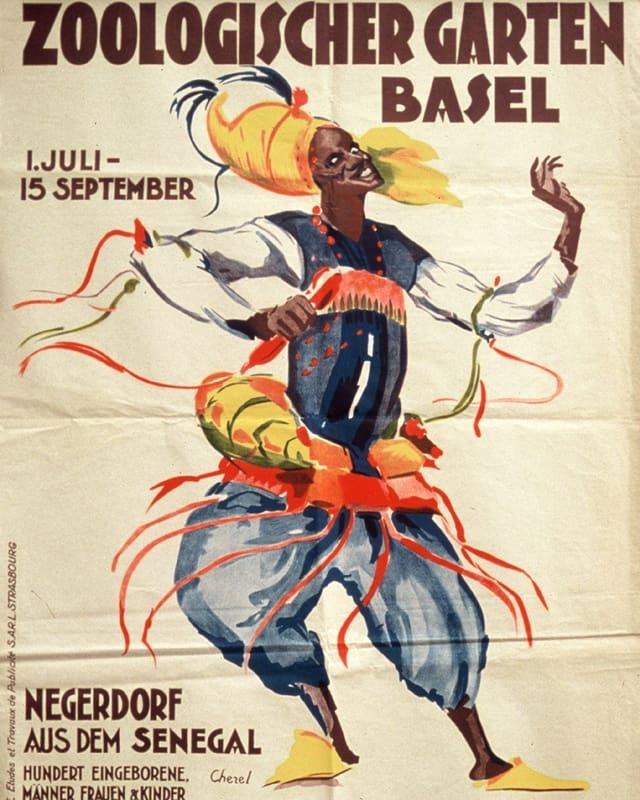 Plakathinweis für eine Veranstaltung in Basel: Eine schwarze Frau tanzt in bunten Kleidern.
