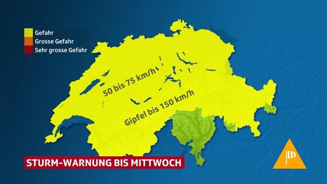 Schweizerkarte mit Gebieten in denen Sturmwarnung vorkommt.