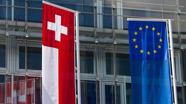 Schweizer Fahne (links), EU-Fahne, im Hintergrund ist eine Hausfassade erkennbar