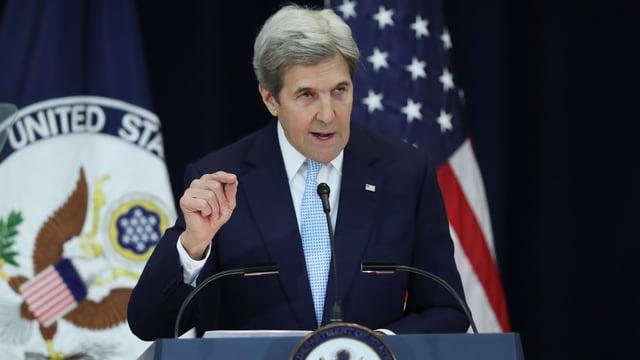 John Kerry während seiner Rede in Washington.