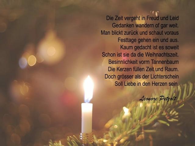 Ein Gedicht auf einem Bild mit einer Weihnachtsbaumkerze.