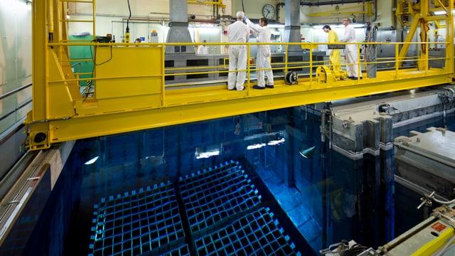 Blick in den Reaktorblock 2 von Beznau 2. Im Wasserbecken, das stark blau leuchtet, lagern Brennstäbe, darüber sind gelb angestrichene Stahlträger auf denen mehrere Pesonen in weissen Überzügen stehen.