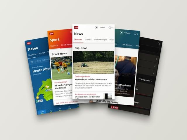 Verschiedene Beispiele aus dem überarbeiteten Webauftritts auf mobilen Screens