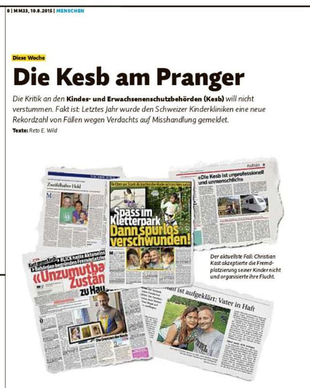 Ein Ausschnitt aus der Kast-Berichterstattung im Migros-Magazin.