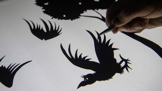 Eine Hand hält einen ausgeschnittenen Vogel mit einer Pinzette fest.