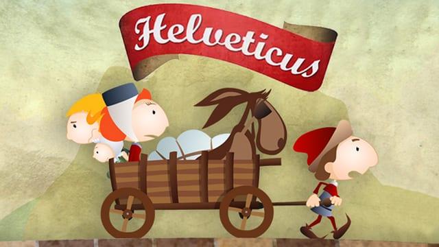 Das gezeichnete Logo von Helveticus zeigt eine Familie in einem Karren mit Esel, die von einem Mann gezogen werden.