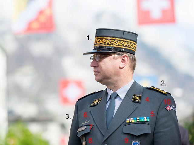 Aldo C. Schellenberg in seiner Ausgangsuniform.