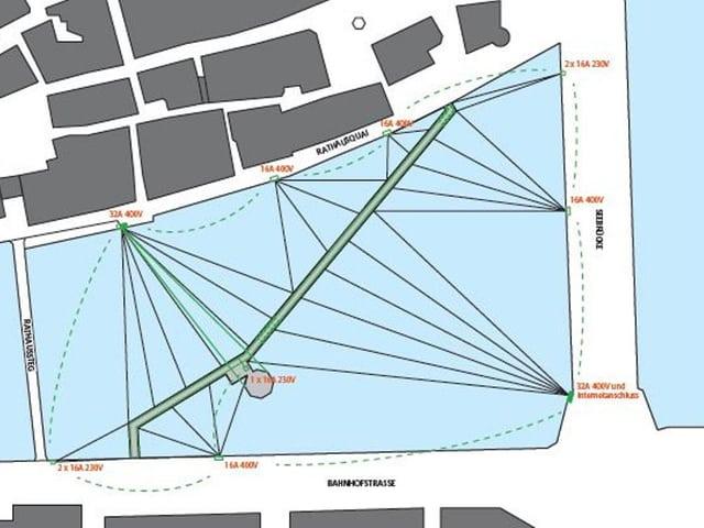 Plan der Beleuchtung der Kapellbrücke.