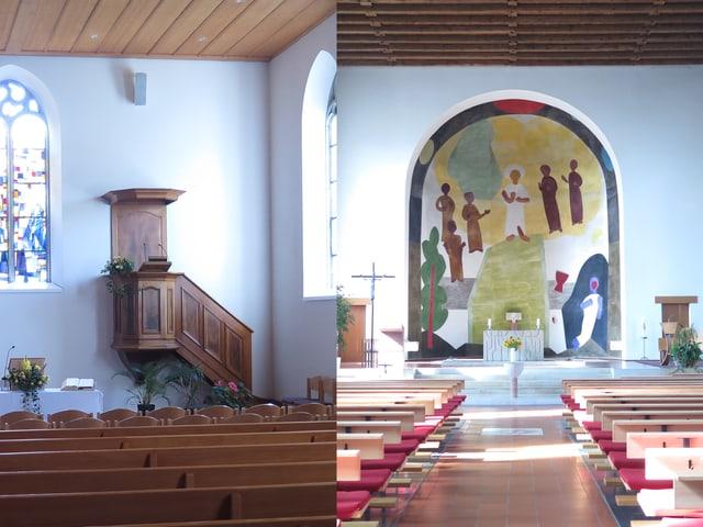 Reformierte und katholische Kirche von innen.
