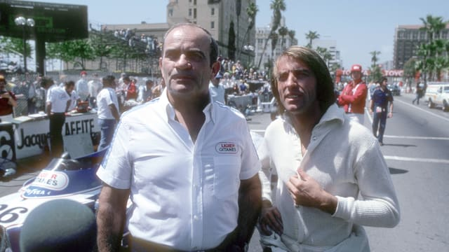 Guy Ligier (l.) 1979 beim GP der USA mit Jacques Laffite.