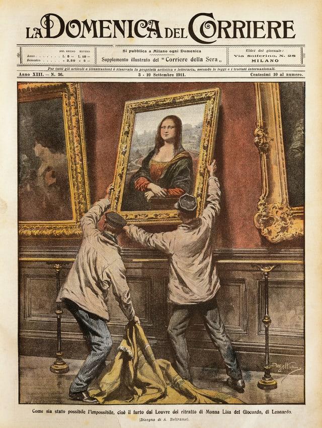 Titelblatt einer Zeitschrift mit einer Abbildung, auf der zwei Männer das Porträt der Mona Lisa abhängen.