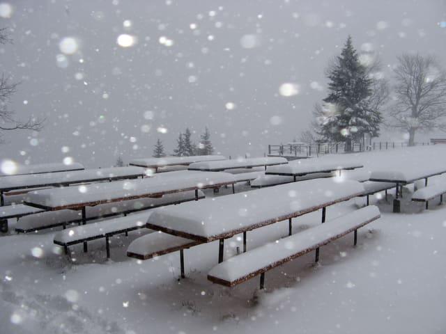 Schneefall auf dem Napf. Es liegen einige Zentimeter Neuschnee auf den Tischen und Bänken.