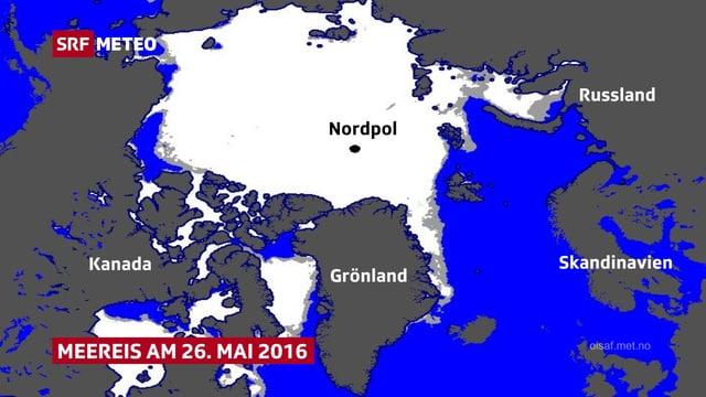 Karte mit Sicht auf den Nordpol.
