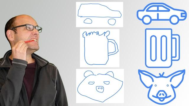 Erstaunlich, wie treffsicher Auto Draw die schäbigen Skizzen von Digitalredaktor Reto Widmer erkennt.