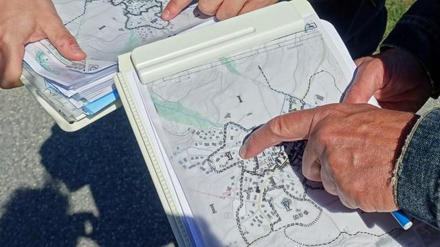 Blick auf die ISOS-Karte, die Vella mit dicken Linien in verschiedene Quartiere unterteilt