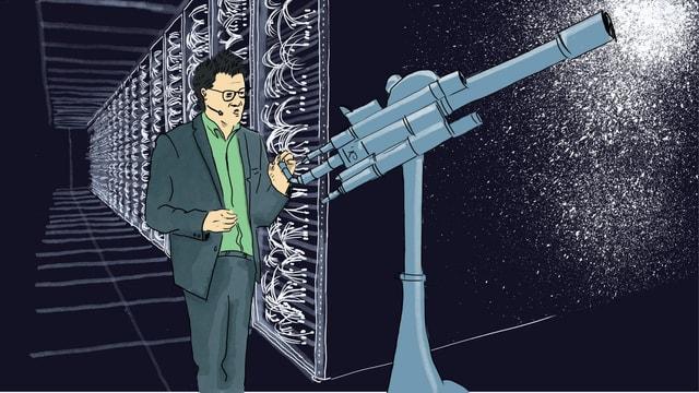 Illustration eines Mannes, der vor einem Teleskop steht, das in das Weltall gerichtet ist.