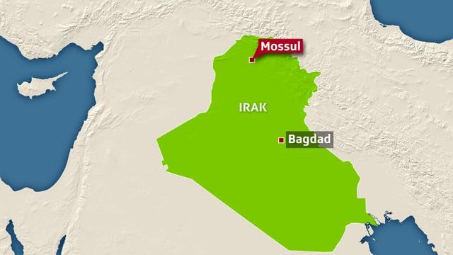 Karte mit Irak, eingezeichnet sind Bagdad und Mossul.