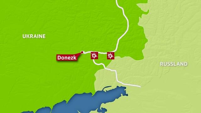 Kartenausschnitt, auf dem Donezk und wichtige Strassen in der Region eingezeichnet sind.