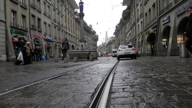 Foto vom Tramgeleise in der Marktgasse.