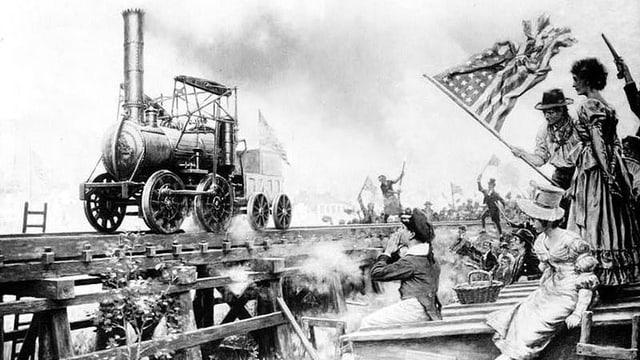 Die erste US-Dampflok namens «Stourbridge Lion» fährt auf Gleisen vorbei an neugierigen Zuschauern.