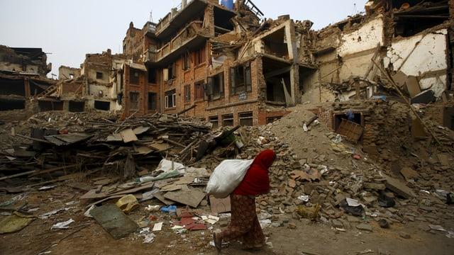 Zerstörte Häuser in Nepal.
